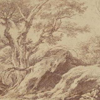 풍경. 거대 암석, 왼쪽의 두 그루의 나무