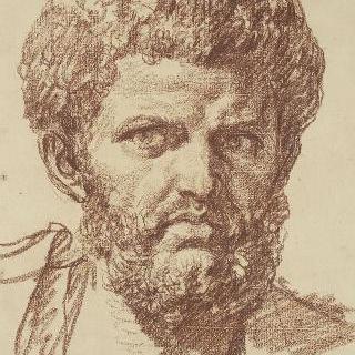 로마 흉상풍의 우측 4분의 3상의 수염 난 남자의 정면 두상