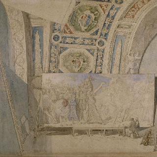아크론의 승리자 로물루스를 채색하는 아틀리에의 앵그르