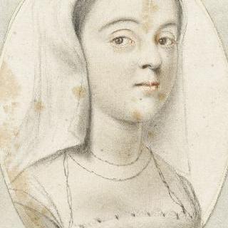 살짝 우측 방향의 흰 색 베일을 쓴 젊은 여인