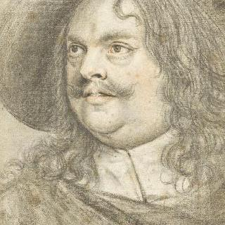 경솔한 눈빛의 모자를 쓴 좌측 방향의 뚱뚱한 남자의 초상