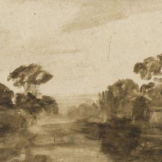 나무가 우거진 강가의 하천