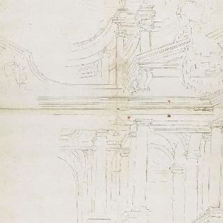 교황의 문장이 새겨진 박공이 있는 건축 정면 습작