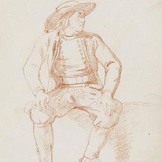 정면을 향해 앉아 있는 브르타뉴 사람, 오른쪽으로 4분의 3을 보고 있는 두상
