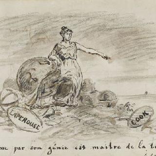 앨범 : 1870년 경의 어느 범선을 가리키는 한 여인, 우의화