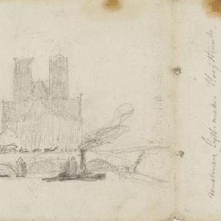 파리 투르넬 다리와 노르트담 성당의 후진