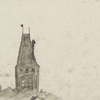 가옥들을 굽어보는 종탑과 풍경의 일부분
