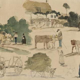 소의 수레달기와 농부들 습작들