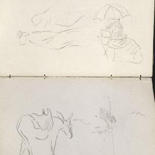 앨범 : 당나귀 한 마리 크로키 : 작은 양산 아래의 여인 크로키