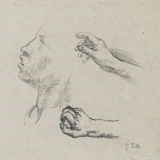습작 종이 : 이삭줍는 여인들의 옆모습, 손, 습작 (1855-56)