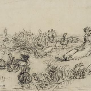 1865년경의 거위를 지키는 어린 여자아이