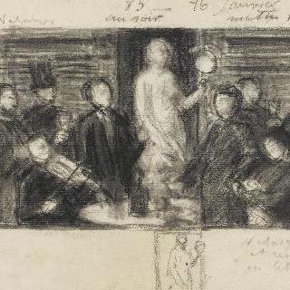 1865년 경의 아틀리에 안에서의 포즈 시간