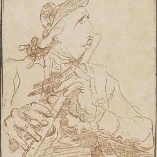 플루트를 연주하는 레모니에르의 희화화된 초상