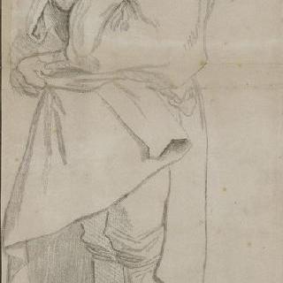 주름진 외투를 입은 서 있는 남자의 좌측 측면