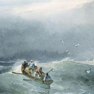 바닷가, 살짝 요동치는 바다 위의 다섯 대의 작은 배