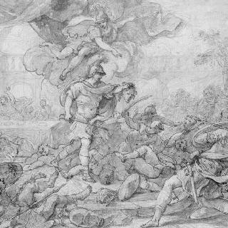 메두사의 머리로 무장한 페르세우스와 돌로 변한 피니어스와 그의 병사들