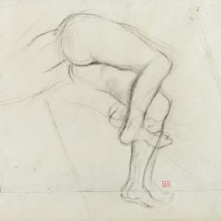 누워 있는 나체 형상의 골반과 다리