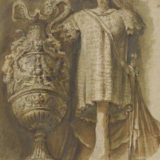 장식된 항아리와 검과 쇠사슬 갑옷