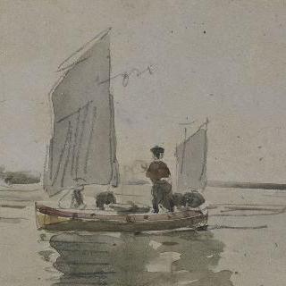 작은 배와 서 있는 선원