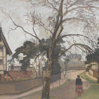 좌측에 별장이 있는 런던 부근의 도로