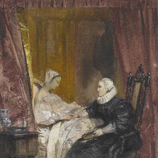 수유하는 젊은 여인 곁의 앉아있는 노파