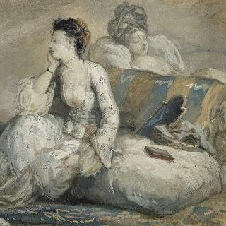 견본 앨범 : 터키풍으로 옷을 입고 방석 위에 앉아있는 두 여인
