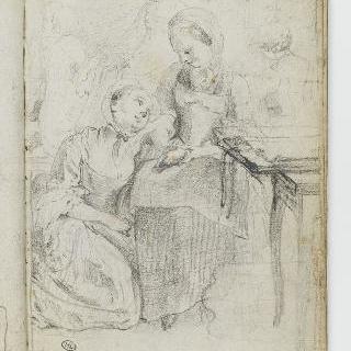 앨범 : 마분지가 놓여있는 소탁자 근처의 앉아있는 소녀와 다른 인물들