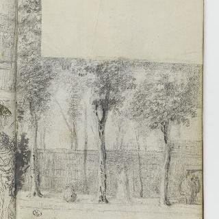 앨범 : 가로수와 말뚝 울타리가 놓인 오솔길의 산책자들