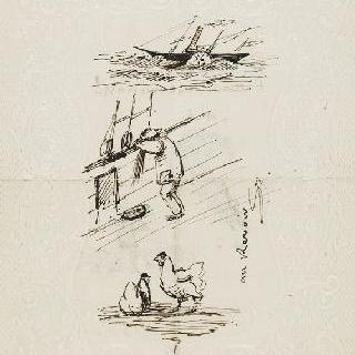배와 동물 크로키