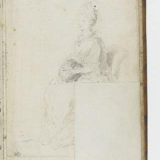 앨범 : 토시를 무릎에 놓은 채 4분의 3방향으로 앉아있는 여인 크로키