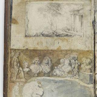 앨범 : 작은 판 위에 놓여진 흉상과 소형 동상들