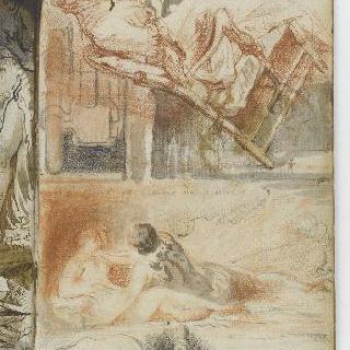 앨범 : 안락의자에 앉아있는 처녀 : 누워있는 나체의 두 인물