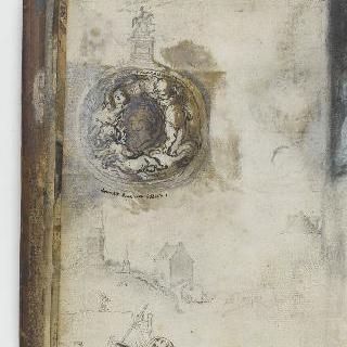 앨범 : 기념물 습작 : 기마상 ; 루이 15세의 측면 원형저부조
