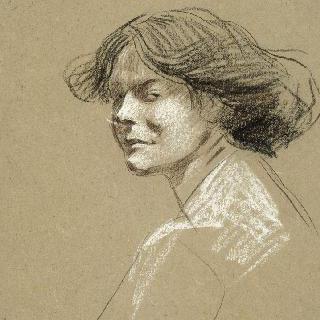 머리를 4분의 3 각도로 향하고 있는 여자 상반신 초상