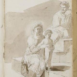 앨범 : 서 있는 아이를 잡고 있는 여인과 계단에 앉아있는 남자 : 백지