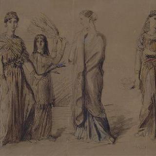 동양풍의 의상을 입은 여성들에 대한 다섯 습작