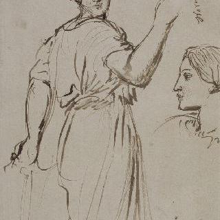 정면을 보고 오른쪽으로 가는 여자. 왼쪽 프로필로 된 여자 머리