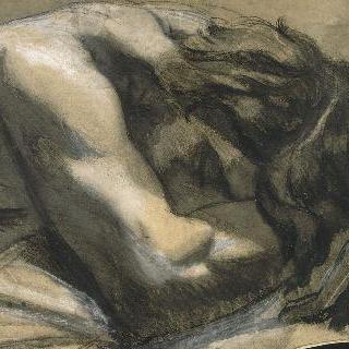 잠자고 있는 나체 남성 상반신. 왼쪽으로 4분의 3쯤 돌린 머리를 팔에 묻고 자고 있다