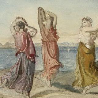 강가에서 탬버린을 치며 춤을 추는 세 여자