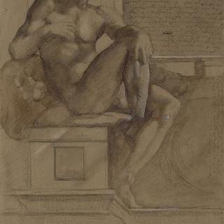 미켈란젤로풍의 나체 남성 그림