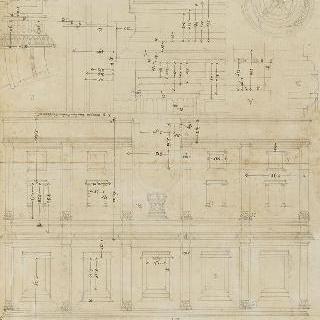 나폴리 델라 리키아 왕궁의 장식 기둥과 정면의 도면