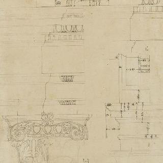 나폴리 델라 리키아 왕궁의 장식 기둥의 수직 단면도와 장식