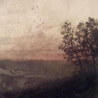 석양의 풍경 속 앞쪽의 목동과 양떼들