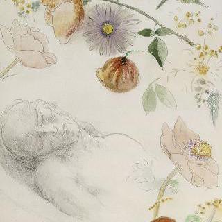 꽃들에 둘러싸인 눈을 감은 남자의 흉상