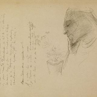 화분과 시의 초안이 있는 측면 두상