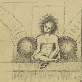 두 개의 포탄 사이에 앉아있는 나체의 남자