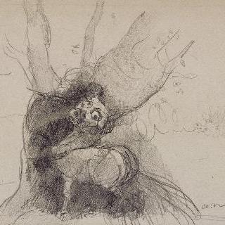 나무 밑둥의 작은 괴물