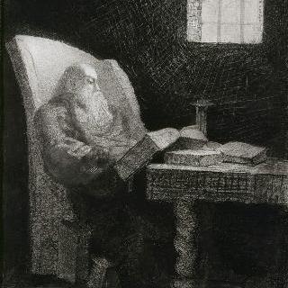 책읽는 앉아있는 수염난 노인