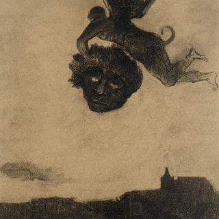 가면을 들고 하늘 위의 날개달린 악마