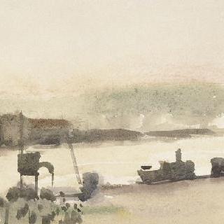 배와 두루미가 있는 앞쪽의 강